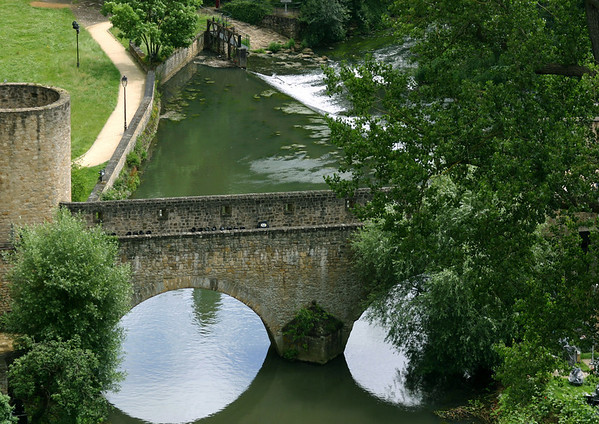 Down the Alzette River - to the Wenceslas Wall (tower and bridge)