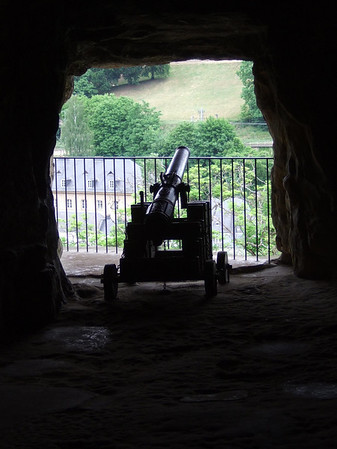Canon positioned at a gallery opening of the Casemates of the Rocher du Bock