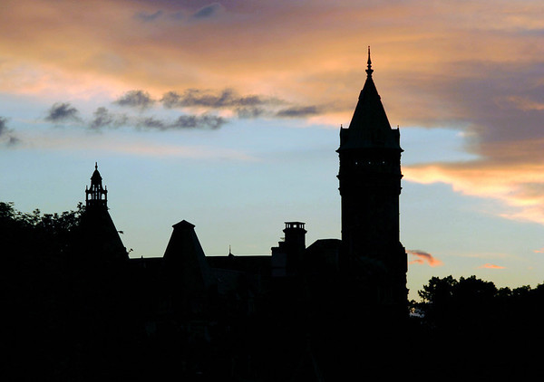 Sunset Silouette of the State Savings Bank's head office tower - Luxembourg City
