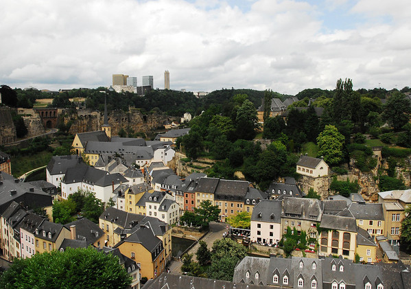 "Across the Grund (a ""quarter"", 1 of 24 divisional areas of Luxembourg City) - to the Plateau du Altmunster; consisting of the Castle Bridge, the Bock Casemates (tunnels), and the Bock Promontory (the elevated rock point above the Alzette River), where Count Siegfried (a Carolingian by blood, on his mother's side he was descended from Charlemagne) constructed his Castle of Luchilinbruch, back in 963, providing the origination of present day Luxembourg City."