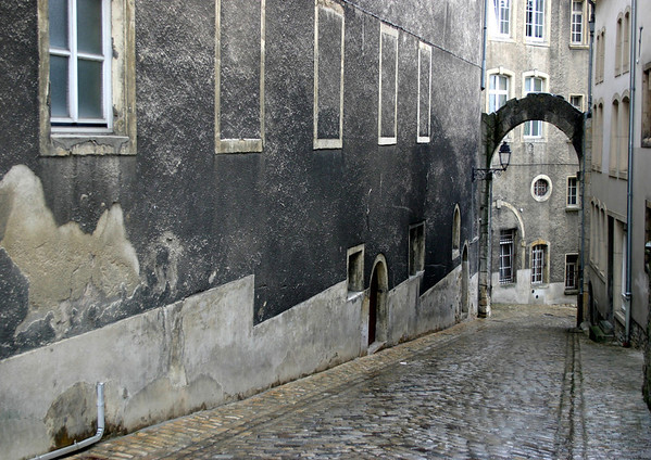 Flagstone streets of the Ville Haute quarters, the old City Central - Luxembourg City