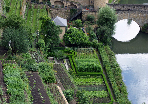 Garden and Vinyard - along the Alzette River - with the Wenceslas Wall and bridge