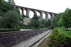 "Passerelle Bridge or Luxembourg Viaduct (also called the ""Old Bridge"") - built between 1859 -1861, to cross the Pétrusse Valley - it measures a height of 148 ft. (45 m) and length is 951 ft. (290 m) - with 24 arches spanning either 26. ft. (8 m) or 49 ft. (15 m) and pillars up to 98 ft. (30 m) tall - Luxembourg City"