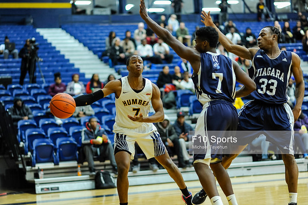 TORONTO, CANADA - Feb 07: during OCCA Mens Basketball Matchup between Humber Hawks vs Niagara Knights at Humber Hawks Athletics Center. Photo: Michael Fayehun/F10 Sports Photography
