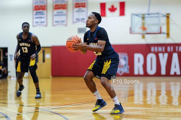 TORONTO, CANADA - Feb 09: during OCCA Basketball Matchup between Humber Hawks vs Redeemer Royals at Redeemer Royals Athletic Center. Photo: Michael Fayehun/F10 Sports Photography