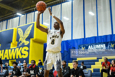 TORONTO, CANADA - Feb 23: during OCAA Men's Basketball Crossover game between Humber vs. St. Lawrence at Humber Hawks Athletic Center. Photo: Michael Fayehun/F10 Sports Photography
