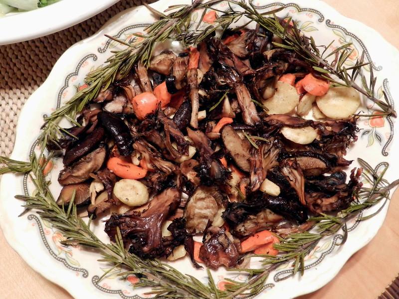 exotic woodsman's roast -- maitake, shiitake, parsnip, carrot, garlic, rosemary, olive oil, salt, black pepper, white truffle oil.