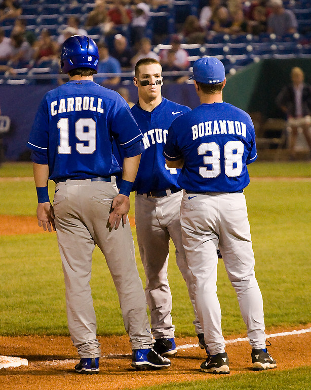 University of Kentucky baseball players Sawyer Carroll and Collin Cowgill were named to the 2008 Golden Spikes National Player of the Year Semifinal Watch List which consists of the top 50 players in college baseball. They also received SEC First Team Honors in 2008.  In Hoover, at the 2008 SEC Tournament, they talk with Coach Brad Bohannon at third. (art effect)