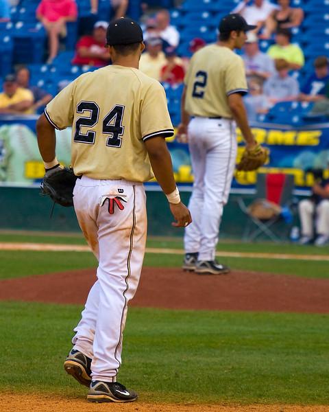 Vanderbilt's Pedro Alvarez plays third as Jason Cunningham readys to pitch