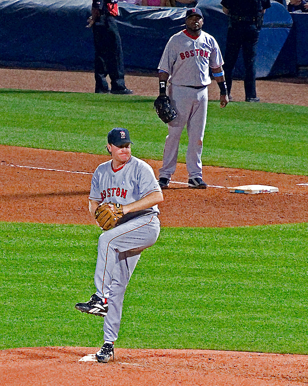 Boston Red Sox Curt Schilling pitching and Big Papi, David Ortiz, at first base (art effect)