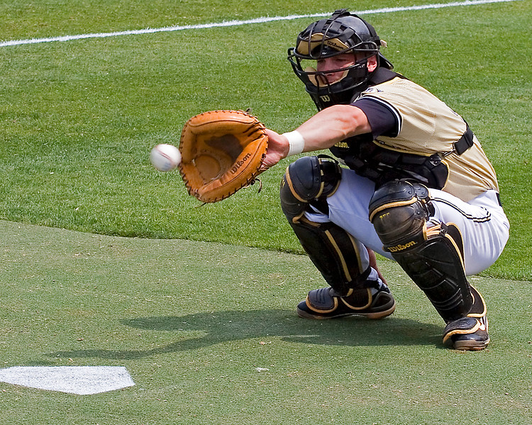 Shea Robin catching for Vanderbilt in SEC Tournament