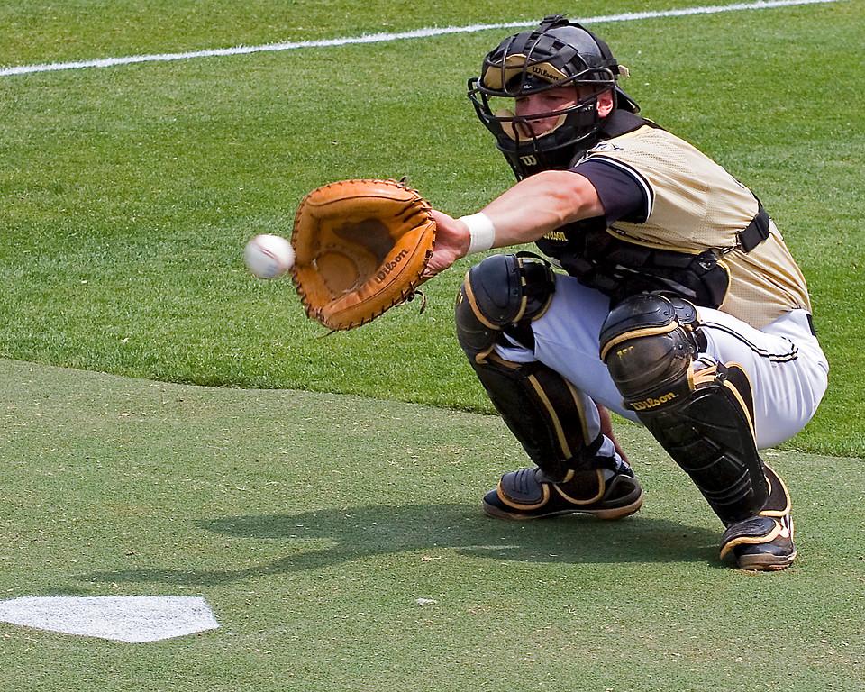 Shea Robin catching for Vanderbilt in SEC Tournament