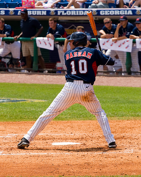 Brett Basham, Ole Miss catcher at plate during 2008 SEC Tournament.