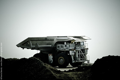A Komatsu dump truck with a modified Westech bed in the Powder River Basin near Wright, Wyoming.
