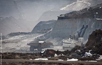 A Bucyrus mining shovel loads a CAT dump truck at the Black Thunder Mine in Wyoming.