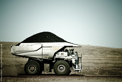 Komatsu haul truck fully loaded with coal - Powder River Basin, Wright, Wyoming