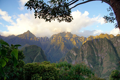 view of mountains at sunset from Sanctuary Lodge at Machu Picchu, Peru