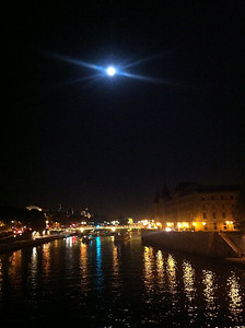 September 2012 Full moon over the River Seine in Paris - from the iPhone