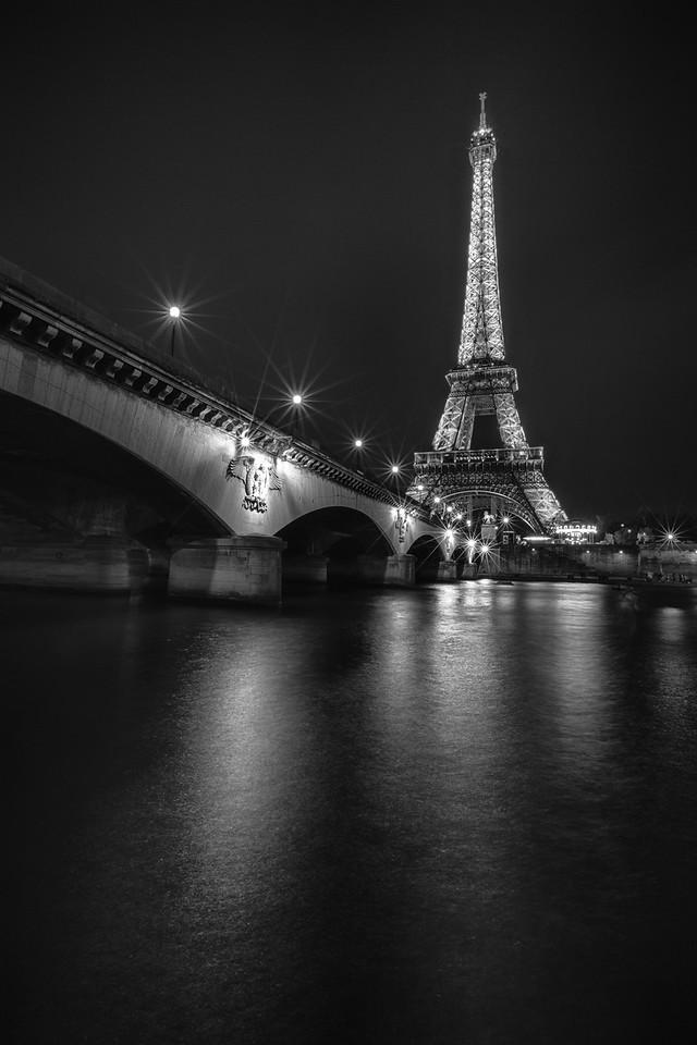 BW Eiffel Night Reflections