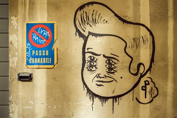 Graffiti - Piazza San Lorenzo, Reggio Emilia, Italy - November 6, 2012