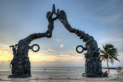 Portal Maya (El Cierre del Ciclo de la Cuenta Larga Maya) by José Arturo Tavares... in morning twilight - Playa del Carmen, Mexico - August 15, 2014