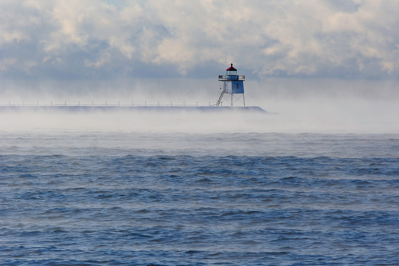 Two Harbors breakwall light in sea smoke 01