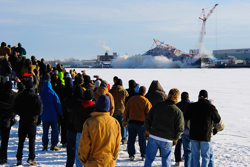 Launching of the USS Milwaukee (LCS-5) in December 2013