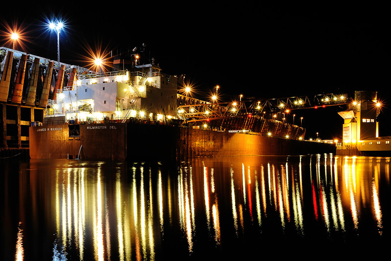 James R. Barker at night in Marquette upper harbor