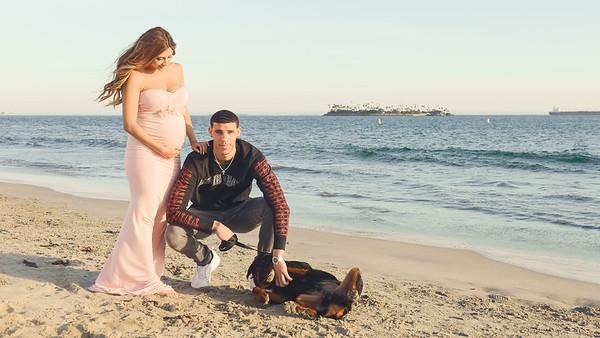 ball in the family maternity photo shoot
