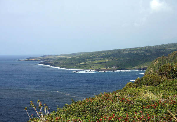 From Mokuia Point - viewing southwestward to Hui Aloha Church (St. Joseph's Church, built in 1862) - with Kepio Point in the distance - Southeast island region