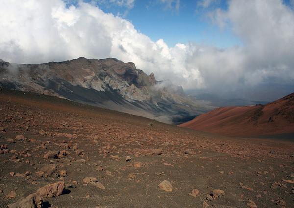 From the Haleakala Crater - beyond the western slope of the iron rich Ka Lu'u o ka 'O'o cinder cone - to the Kilohana Peak, and the western slope of the Ko'olau Gap - Haleakala National Park - Upcountry region