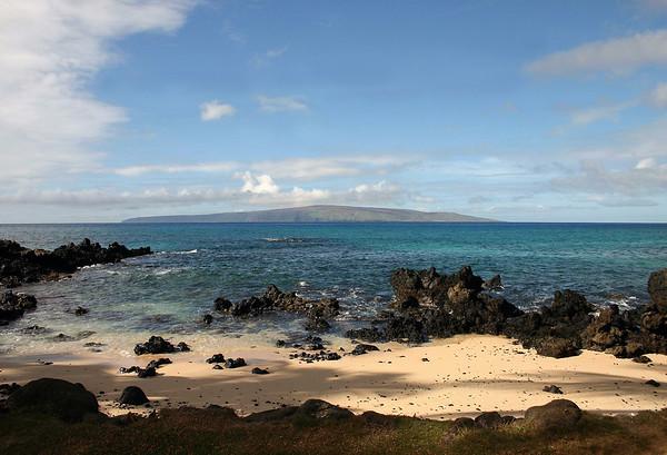 From Oneloa Beach (south end) - Makena State Park - South Maui region - across the Alalakeiki Channel - to Kaho'olawe Island (uninhabited)