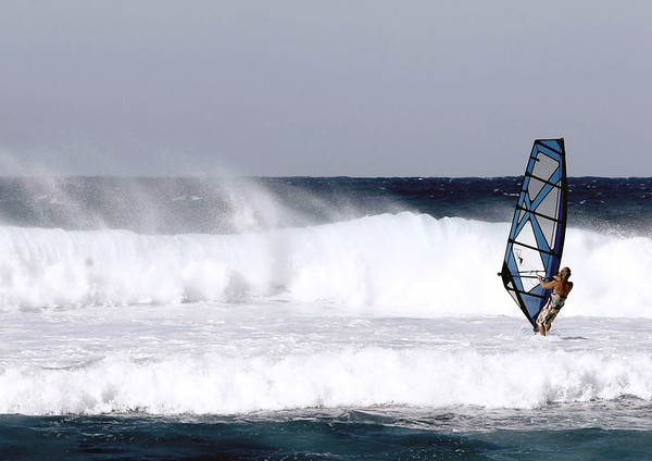 Wind Surfer at Ho'okipa Beach - North Shore region