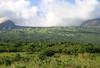 Kapou Gap - the southeastern lava flow opening from the crater of the Haleakala Volcano - viewing about 2 mi. (3 km) upward, to the 1 mi. (1.5 km) wide Kapou Gap - Southeast island region