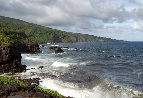 Confluence of Pipiwai Stream and the Pacific Ocean - viewing northeast along the southeastern flank of Mauna Haleakala (volcano) - Southeast island region