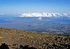 """Central Maui - the fertile isthmus between the two volcanoes from here at Haleakala, with Kahalawai (mostly covered in cumulus clouds) - the reason why Maui is called """"The Valley Isle"""""""