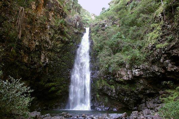 "Alele Falls - a ""chute"" waterfalls dropping vertically, about 55 ft. (17m) - Haleakala National Park - Southeast island region"