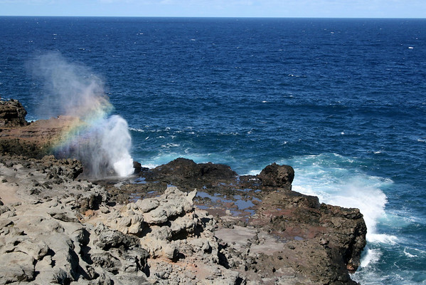 Diffusion of the color spectrum in the mist created from the Nakalele Blowhole - West Maui region