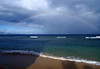 Rainbow over the Kalohi Channel - with the northeastern flank of the island of Lana'i at the end of the rainbow - West Maui region