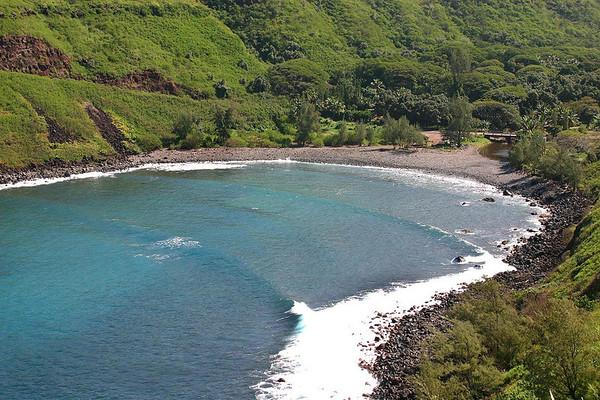 Confluence of the Honokohau Bay and Stream - the northern end of Mauna Kahalawai (West Maui Mountain) Volcano