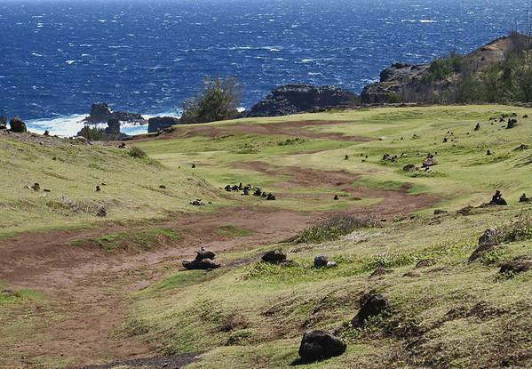 Trek down to the Nakalele Blow hole - with Poelua Bay beyond - West Maui region
