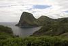 Across Kahakuloa Bay - to Kahakuloa Head, rising 636 ft. (194 m) above the Pacific - with Pu'u Kahyli'anapa (hill) beyond