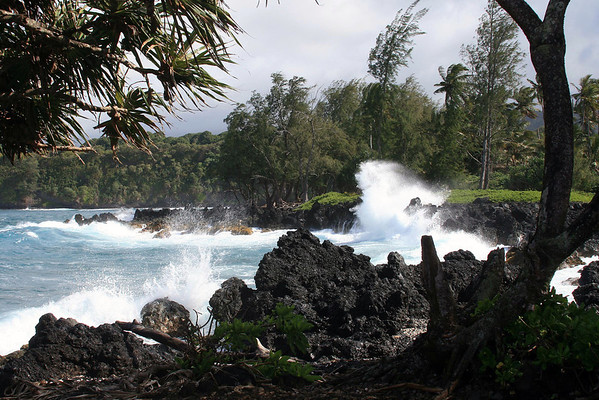 Waves breaking on the volcanic lava coastline of the Ke'anae Peninsula - site of the last lava flow through the Ko'olau Gap that reached the ocean, from Mauna Haleakala - and the windward side and Northeast island region