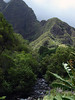 The igneous rock boulders in the Iao Stream - with the Pu'u Kukui Crater wall beyond - Iao Valley State Park - West Maui region