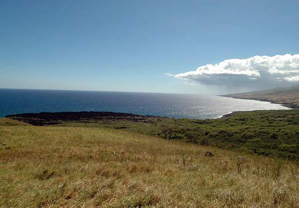 Apole Point - this was the last lava to flow from the Kapou Gap, of Mauna Haleakala, to the ocean- viewing southwestward beyond Nu'u Bay and Huakini Bay - down the coastline to the cumulonimbus cloud, above the southern end of the island