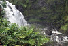 """Upper Waikani Falls - also called """"Three Bears Falls"""", but the falls has to be flowing significantly slower to see the distinct 3 falls - here it is exhibiting as a classic waterfall (its width is about the same as it height) - Northeast island region"""