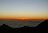 "Sunrise from atop Mauna Haleakala Volcano - (Haleakala meaning ""house of the sun"") - from Haupa'akea Peak, at 9,159 ft. (2,792 m) down to Haleakala Peak, at 8,201 ft. (2,500 m) and across the top of the sea of clouds - Haleakala National Park - Upcountry region"