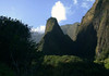 Iao Needle, up the southeastern ridge - with the steep volcanic rock wall of the Pu'u Kukui Crater along the side - the Mauna Kahalawai (West Maui Mountains) Volcano - Iao valley State Park - Central Maui region