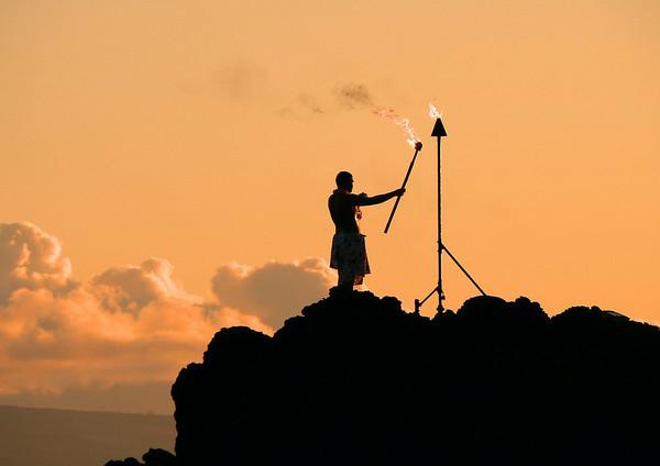 Sunset at Pu'u Keka'a (Black Rock) - at Ka'anapali Beach - the westernmost point on the island of Maui