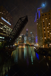 Chicago City View - From a bridge over the Chicago River, nightshot